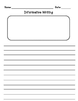 Informative Writing Graphic Organizer with 3 Facts and Writing Paper