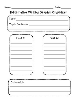 Informative Writing Graphic Organizer with 2 Facts and Writing Paper