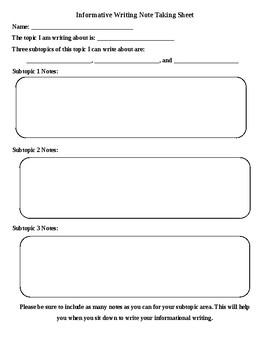 Informative Writing Note-Taking Organizer