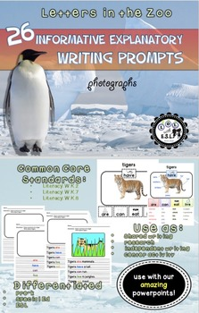 Informative Writing Prompts A-Z Animals- Bundle Set