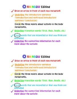 Informative Writing- RAINBOW Edit Student Sheet