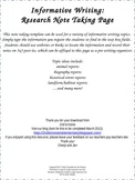 Informative Writing Research Note taking page template-com