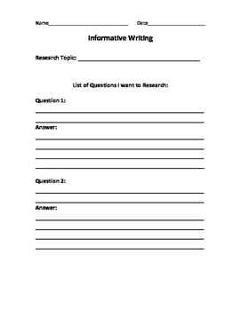 Informative Writing Research Project