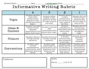 informative writing rubric 2nd grade