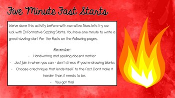 Informative Writing - Sizzling Starts