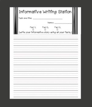 Informative Writing Station - Daily 5 one sheet