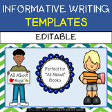 Informative Writing Templates - Animal Books, All About, Biographies, Research