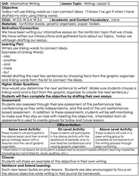 Informative Writing Unit Gr 3 COMMON CORE *Danielson* with DIFFERENTIATION