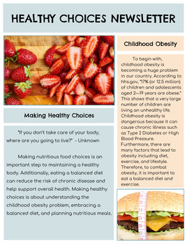 Informative Writing Unit: Healthy Choices An Informative Newsletter (Grades 3-5)