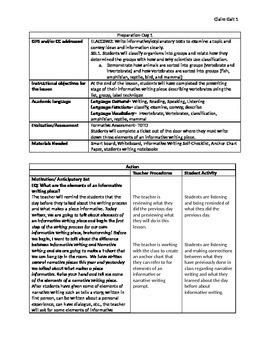 Informative Writing Unit Plan