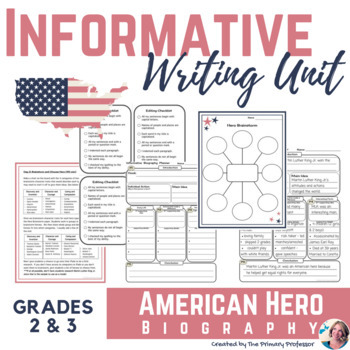 American Hero Biography Informative Writing Unit For 2nd 3rd Graders