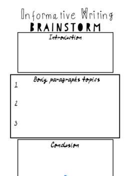 Informative and Persuasive Writing Outlines/Brainstorms