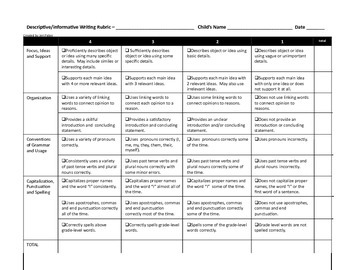 Informative or Descriptive Writing Rubric
