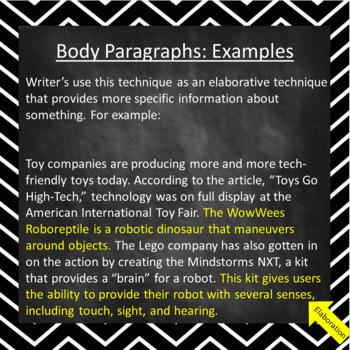 Informative/Explanatory Writing- Body Paragraphs