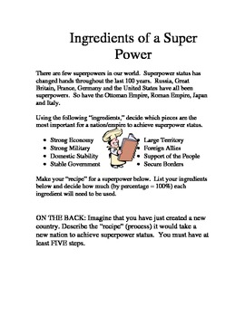 Ingredients of a Super Power Activity