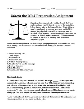 Inherit the Wind Preparation Homework and Discussion Share-Out Material
