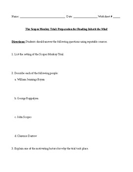 Inherit the Wind Reading Preparation Questions and Comprehensive Answer Key