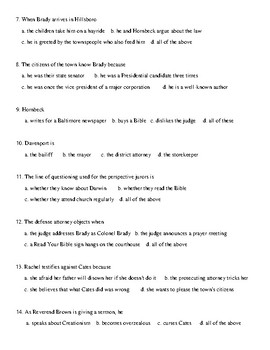 Inherit the Wind Test and Detailed Answer Key