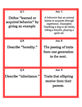 Inheritance Fan and Pick Cards with answers (Kagan's Structure) Science