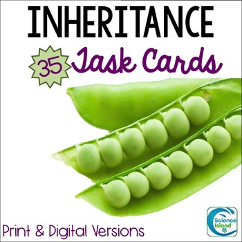 Inheritance Task Cards - Genetics Activity with PowerPoint Review (Heredity)