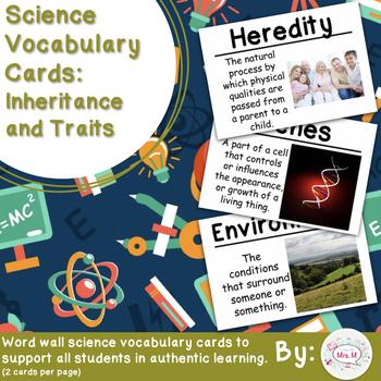 Inheritance and Traits Vocabulary Cards (Large)