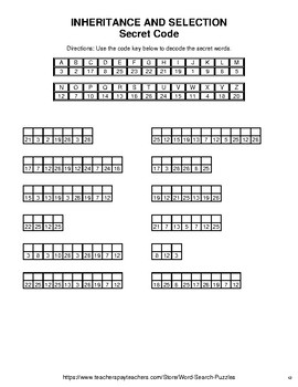 Inheritance and selection - Word Search Puzzle, Word Scramble,  Crack the Code