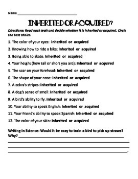Inherited & Acquired Traits Quiz  and answer key