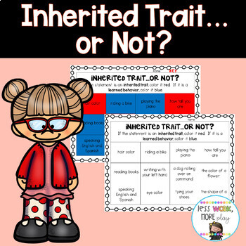 Inherited Trait or Learned Behavior Coloring Sort - NGSS