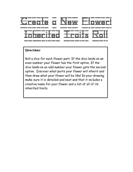 Inherited Traits Game: Create a new flower