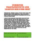 Inherited Traits, Instincts, and Learned Behavior Sort