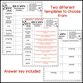 Inherited Traits & Learned Behaviors Fun Interactive Vocabulary Dice Activity