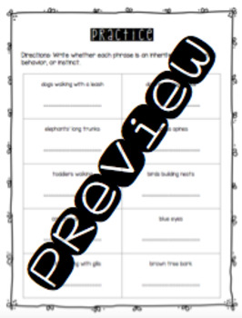 Inherited Traits, Learned Behaviors, and Instincts Worksheet