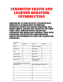 Inherited Traits and Learned Behavior Introduction