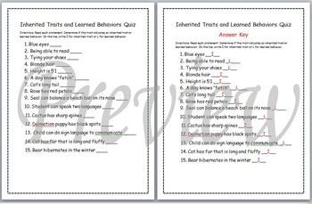 Inherited Traits and Learned Behaviors Quiz