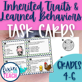Behavior task cards teaching resources teachers pay teachers inherited traits and learned behaviors task cards qr code answers fandeluxe Gallery
