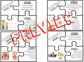Inherited Traits and Learned Behaviors Vocabulary Puzzle Activity (TEK 5.10B)