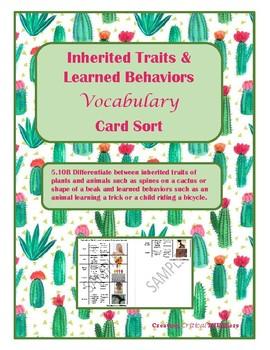 Inherited Traits and Learned Behaviors Vocabulary Sort- TEKS 5.10B