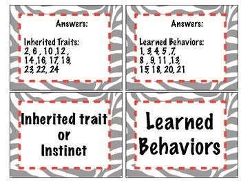 Card Sort: Inherited Traits vs Learned Behavior