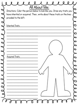 Inherited and Acquired Traits Printables and Activities