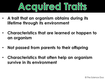 Inherited and Acquired Traits - PowerPoint and Notes