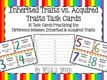Inherited or Acquired Traits Task Cards