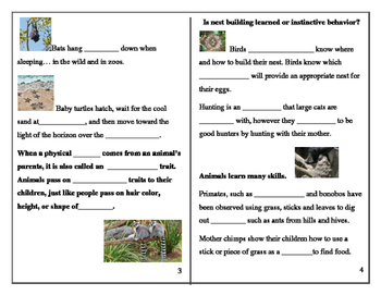 Inherited or Learned: student worksheets and quizzes