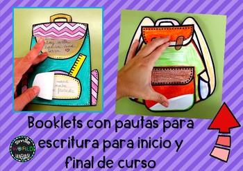Inicio y fin de curso booklets Español Craftivity Spanish Flipbooks