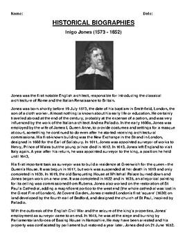 Inigo Jones Biography Article and (3) Assignments