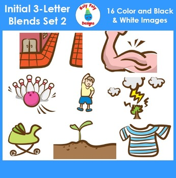 3-Letter Consonant Blend Phonics Clip Art Set 2
