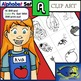 "Initial ""A"" Kindergarten Clip-Art! 8 BW, 8 Color, 1 Cut-Out Sheet"