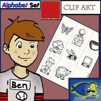 "Initial ""B"" Kindergarten Clip-Art! 8 BW, 8 Color, 1 Cut-Out Sheet"