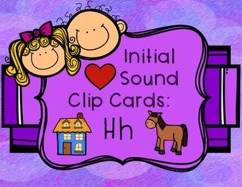 Initial/Beginning Sound Clip Cards: Hh - Freebie