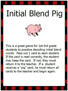 Initial Blend and Digraph Pig Games