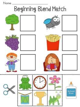 Beginning Blends Worksheets by Miss Giraffe   Teachers Pay ...